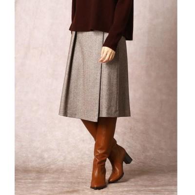 COMME CA / コムサ ヘリンボーンツィードタック入りラップ風スカート