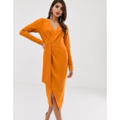 エイソス レディース ワンピース トップス ASOS DESIGN long sleeve wrap midi dress with belt detail Orange