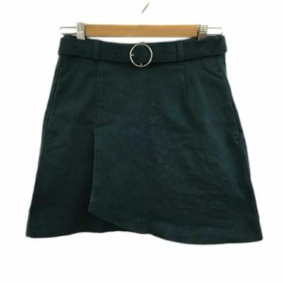【中古】ヘザー Heather スカート 台形 ミニ ラップ風 S 緑 グリーン レディース