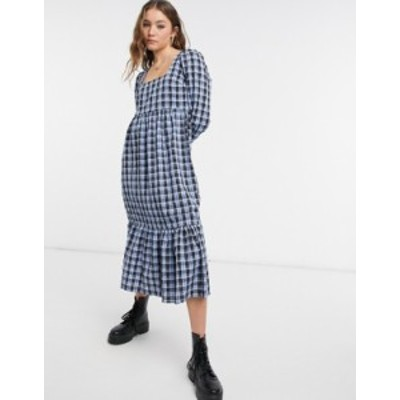 ニュールック レディース ワンピース トップス New Look square neck smock midi dress in blue check Blue pattern