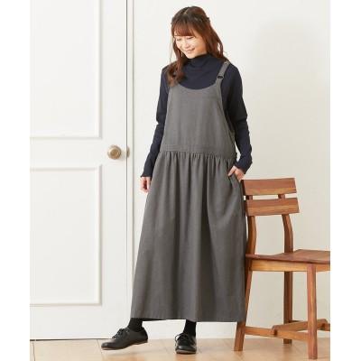 キレイメ素材 ウエストギャザーサロペットスカート (ロング丈・マキシ丈スカート)Skirts