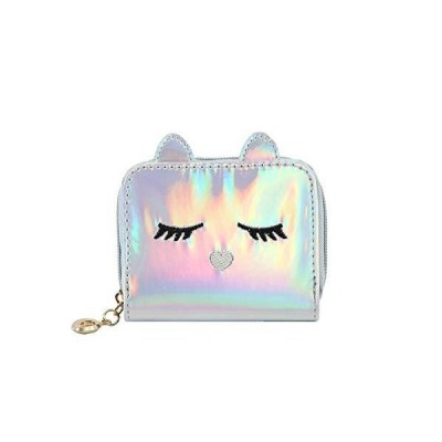 Eilova Orityle Holographic Cat Face Short Wallet Small Coin Purse for Women Girls【並行輸入品】