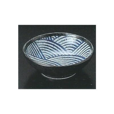 和食器/料理 青海波黒手捻り4.0ボール (13.4×4.5cm 重さ230g)