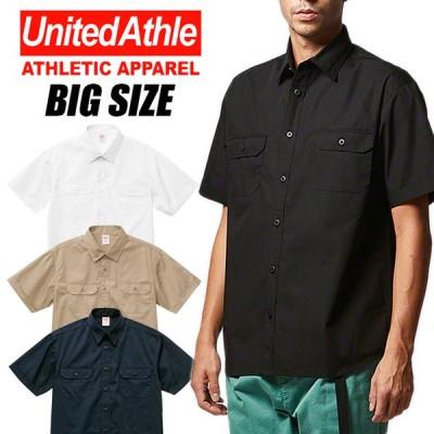 2XL-5XL UNITED ATHLE ワークシャツ メンズ 無地 半袖 シャツ おしゃれ かっこいい 大きいサイズ ストリート アメカジ ブラック 黒 ネイビー