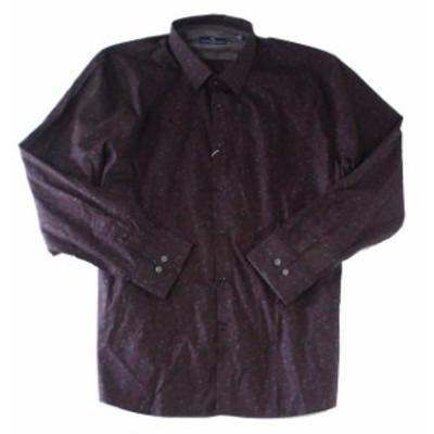 Pocket  ファッション ドレス Ryan Seacrest Mens Shirt Burgundy Red Size XL Floral Long-Sleeve Pocket