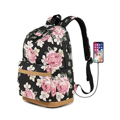 """Lmeison Floral Backpack for Teen Girls, Canvas College School Bookbag Set Charging with Lunch Bag Pencil Case, Lightweight Cute 15.6"""" Laptop"""