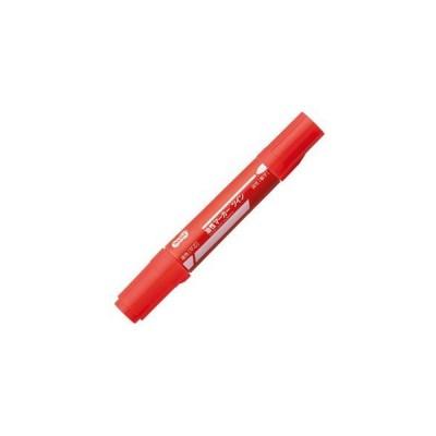(まとめ) TANOSEE キャップ式油性マーカー ツイン 太字+細字 赤 1本 〔×20セット〕