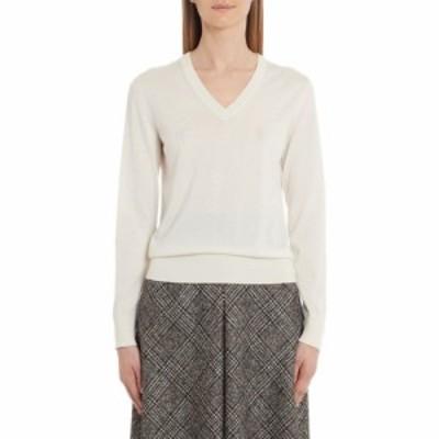 ドルチェandガッバーナ DOLCEandGABBANA レディース ニット・セーター Vネック トップス V-Neck Cashmere and Silk Sweater Ivory
