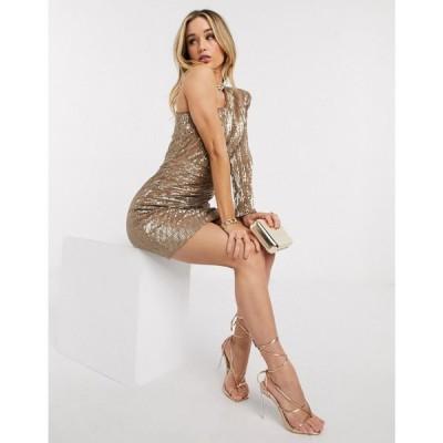 ラヴィッシュアリス Lavish Alice レディース ワンピース ミニ丈 ワンピース・ドレス one sleeve sequin mini dress in metallic gold