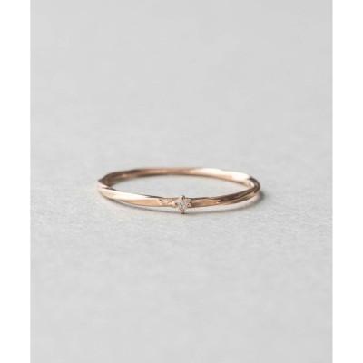 指輪 K10 レイヤード ダイヤモンド リング