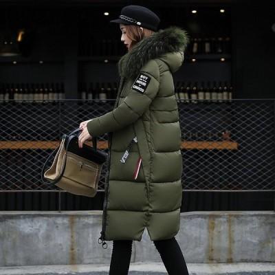 中綿コート 中綿ジャケットロング丈 冬用 レディース ファイクファー アウター 暖かい 防風防寒 ファー付フード オシャレ 厚手 大きいサイズ 軽量