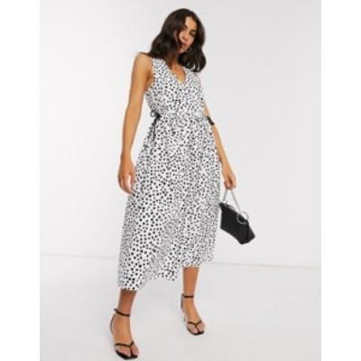 エイソス レディース ワンピース トップス ASOS DESIGN cotton poplin wrap smock midi dress with drawstring waist in mono splodge pr