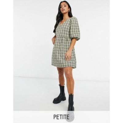 ヴェロモーダ Vero Moda Petite レディース ワンピース ミニ丈 ワンピース・ドレス Quilted Smock Mini Dress In Check Print チェックプリント