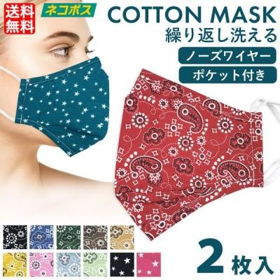 コットンマスク 洗える ノーズワイヤー 男女兼用 大人用 ふつうサイズ ポケット付 ゴム紐調整付き ペイズリー 星柄