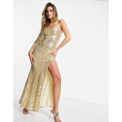 クラブエルロンドン レディース ワンピース トップス Club L one-shoulder sequin maxi dress with fishtail in gold Gold