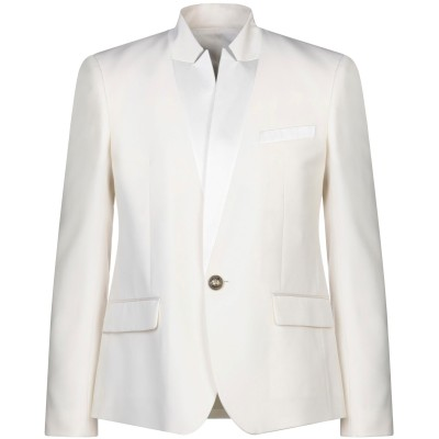 バルマン BALMAIN テーラードジャケット ホワイト 52 ウール 100% / コットン / シルク テーラードジャケット