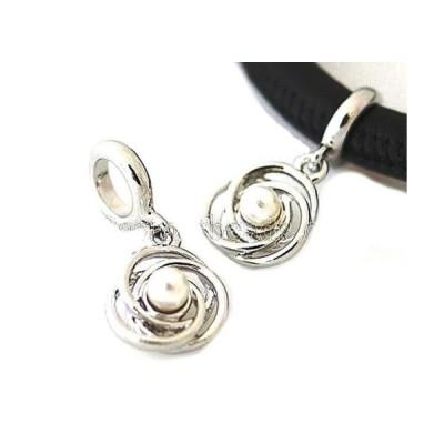 チャーム ブレスレット ハンドメイド Silver Swirl Pearl Charm For Endless Story Bracelet Interchangeable Jewelry