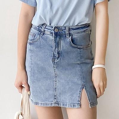 送料0円! 韓ファッション舌レールを可能にするこのウエストデニムスカート (pt515)