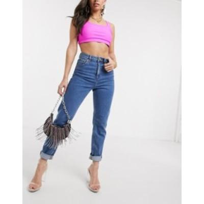 エイソス レディース デニムパンツ ボトムス ASOS DESIGN Recycled Farleigh high waist slim mom jeans in dark wash Dark wash