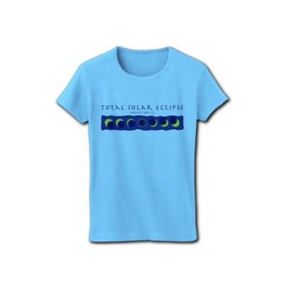 皆既日食 リブクルーネックTシャツ(ライトブルー)