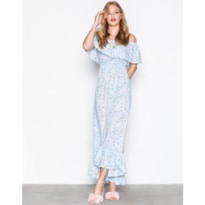 ミスガイデッド パーティードレス bardot ditsy floral maxi dress Blue