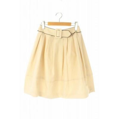 【中古】エムズグレイシー M'S GRACY ベルト付きフレアスカート ひざ丈 36 アイボリー /YS ■OS レディース 【ベクトル 古着】