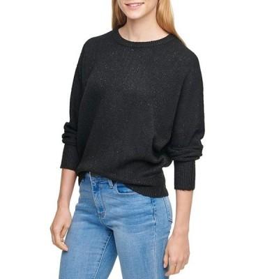 ダナ キャラン ニューヨーク レディース パーカー・スウェット アウター Sequined Knit Crew Neck Long Dolman Sleeve Sweater