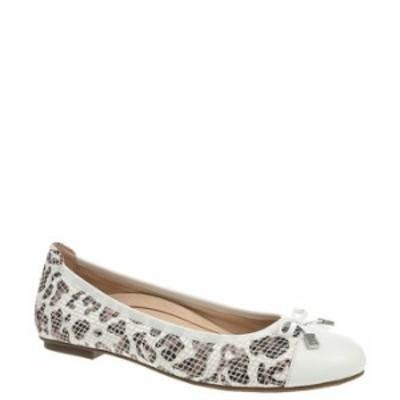 バイオニック レディース スリッポン・ローファー シューズ Minna Snake Embossed Leopard Print Leather Ballet Flats White Leopard
