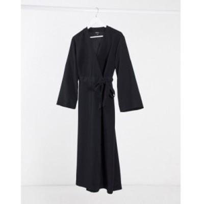 モンキ Monki レディース ワンピース ラップドレス ミドル丈 ワンピース・ドレス wrap midi dress ブラック