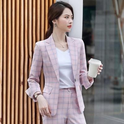 ピンクのグリッドは、スーツとレディースファッションの韓国カジュアル英国スタイルのスモールスーツジャケット専用です