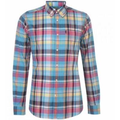 バブアー Barbour Lifestyle メンズ シャツ トップス Barbour Madras Tailored Shirt Aqua