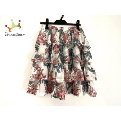 ジェーンマープル Jane Marple スカート サイズM レディース 美品 白×レッド×マルチ 花柄 新着 20200710
