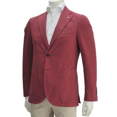 国内正規品 L.B.M 1911エルビーエム レッド系 コットンジャケット シルク混紡の袖裏地 2Bシングル メンズ Men's