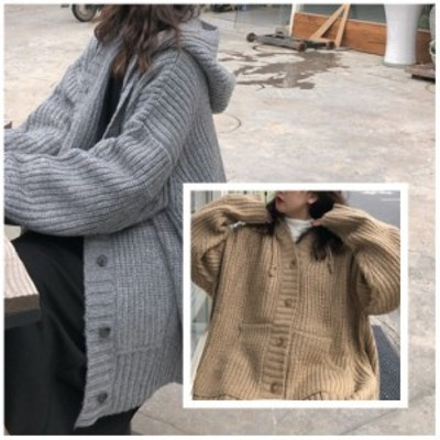 コート ニット オーバーサイズ ニットコート フード付き アウター ジャケット ポケット 厚手 セーター きちんと感 仕事 ベーシック グレ
