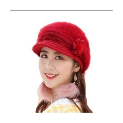 ニット帽 ニット キャップ レディース帽子 兎の毛 手編み つば付き ファー ニット帽 ふわふわ 暖かい 防寒ファーニット帽 秋冬 シンプルおしゃれク