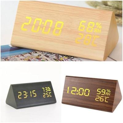 デジタル時計 置き時計 置時計 LED高画質ディスプレイ 目覚まし時計 温湿度表示 アラーム 多機能 おしゃれ LED時計部屋 木 木目調 デジタル ナチュラル