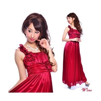 光沢ストレッチサテンギャザードレープロングドレス