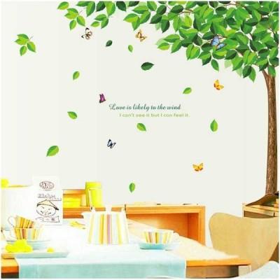 ウォールステッカー ツリーと蝶々 壁シール 癒される グリーンリーフの木 ちょう 自然