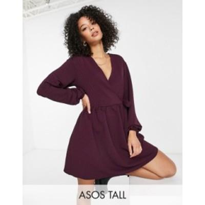 エイソス レディース ワンピース トップス ASOS DESIGN Tall smock oversized mini wrap dress in dark purple Dark purple