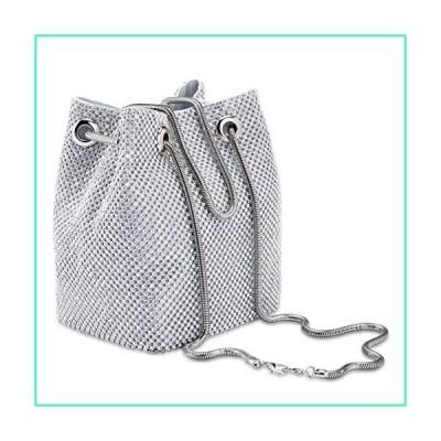 Ayliss Women's Full Rhinestones Bucket Bag Mini Crossbody Shoulder Evening Shinny Bling Clutch Purse Bucket Handbag (Silver)並行輸入品