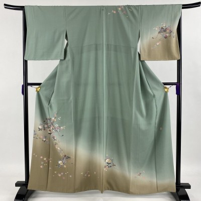 訪問着 美品 秀品 落款あり 一つ紋 草花 笠 染め分け 薄緑 袷 身丈163cm 裄丈65cm M 正絹 中古