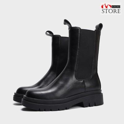 サイドゴアブーツ レディース ミドルブーツ ショートブーツ ファッション ブーツ 厚底 黒 春 秋 冬