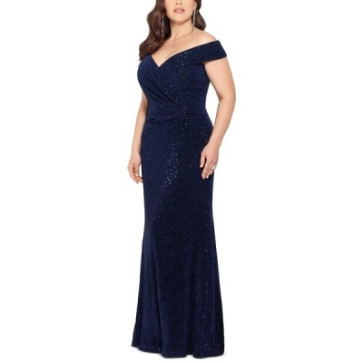 エスケープ ワンピース トップス レディース Plus Size Off-The-Shoulder Sparkle Gown Navy Blue