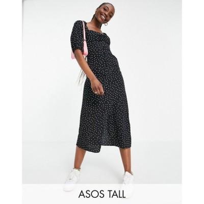 エイソス ASOS Tall レディース ワンピース ミドル丈 ワンピース・ドレス ASOS DESIGN Tall button through midi tea dress in mono spot print モノスポット