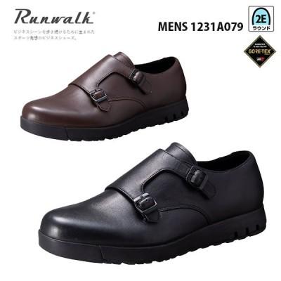 アシックス ランウォーク メンズ ビジネスシューズ ゴアテックス 2E 1231A079 ダブルモンクストラップデザイン asics Runwalk 靴