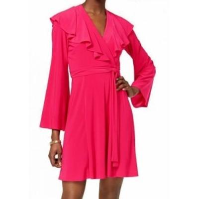 taylor テイラー ファッション ドレス Taylor NEW Pink Womens Size 12 V-Neck Ruffle Flare Sleeve Wrap Dress