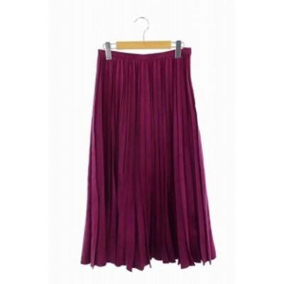 【中古】Loulou Willoughby 18AW フェイクスウェードプリーツスカート ロング 2 紫 パープル /ES ■OS レディース