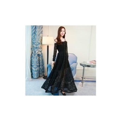 パーティードレス ロング丈 スカート オフショル 透け感レース かわいい レディース ワンピース 結婚式 二次会 お呼ばれドレス kh-0227
