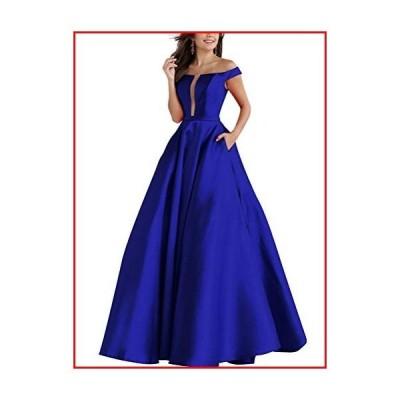 【新品】NAXY-Prom Dress Long A-Line Deep V-Neck Lace-Up Back Satin Floor Length Formal Evening Dress with Pockets Royal Blue【並行輸