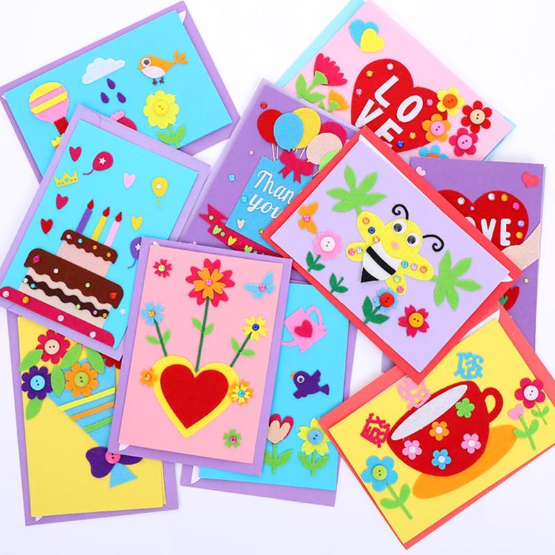 兒童DIY手作不織布卡片 材料包 美術 母親節 卡片 父親節 教師節 情人節【JC3467】《Jami》